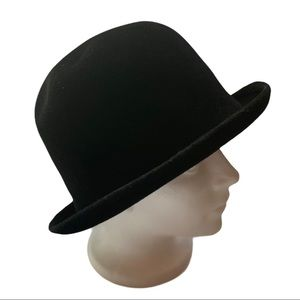 Boutique Black Velour Hat with Chin Strap